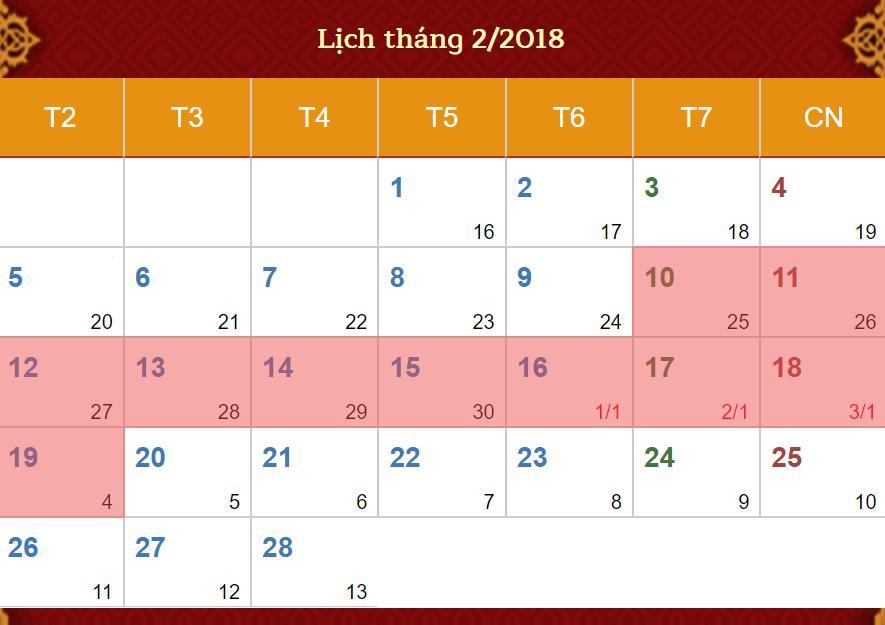 lịch nghỉ tết mậu tuất 2018 ichina company